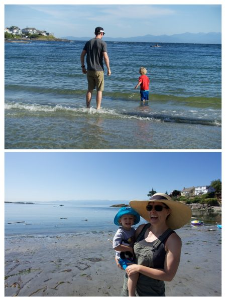 Top: Man in shorts and a ball cap walking away into waves with a toddler in a red shirt. Bottom: Woman in a sun hat smiling and holding a toddler at the beach.