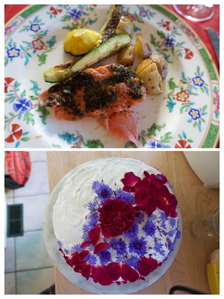Top: Salmon, zucchini and potatoes on a colourful floral plate and red tablecloth. Bottom: Round cake with white icing decorated with red and purple flowers.